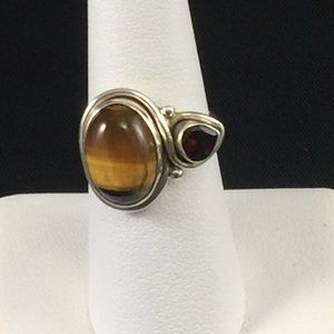 Togers eye and garnet ring, sterling silver